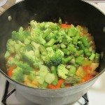 Adding broccoli and asparagus for last 10 minutes of cooking