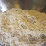 Combine dry ingredients with butter and raisins