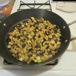 Saute eggplant until it starts to brown.