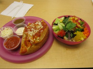 Lunch: Pasta bowl filled with pasta and a mixed salad with home made dressing. Prepared by: Maia, Angela and Harleigh