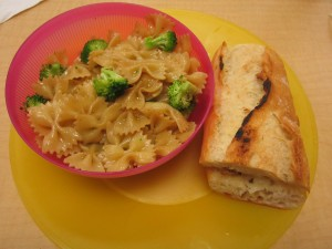 Dinner: Chicken Panini with pasta and broccoli tossed with olive oil. Prepared by Arin, Kyra, Cameron and Paul