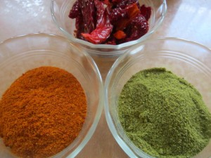 Whole and powdered dried peppers