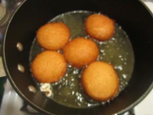 Frying the doughnuts