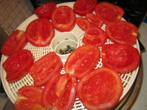 The tomatoes when I put them in. Note how much they will shrink.
