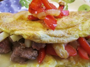 Steak and Pepper Omelet