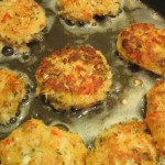Cook crab cakes until browned on both sides