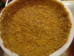 Crust pressed into pie pan