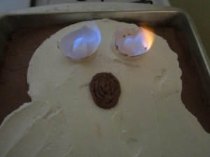 Flaming Ghost Cake
