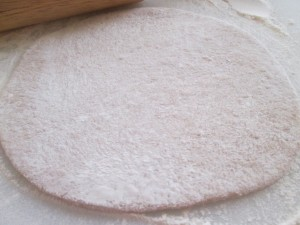 Roll dough out into circles right before baking