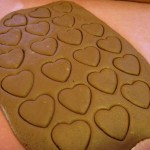 Cut out with heart-shaped cookie cutters