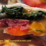 Spinach and corned beef quesadilla