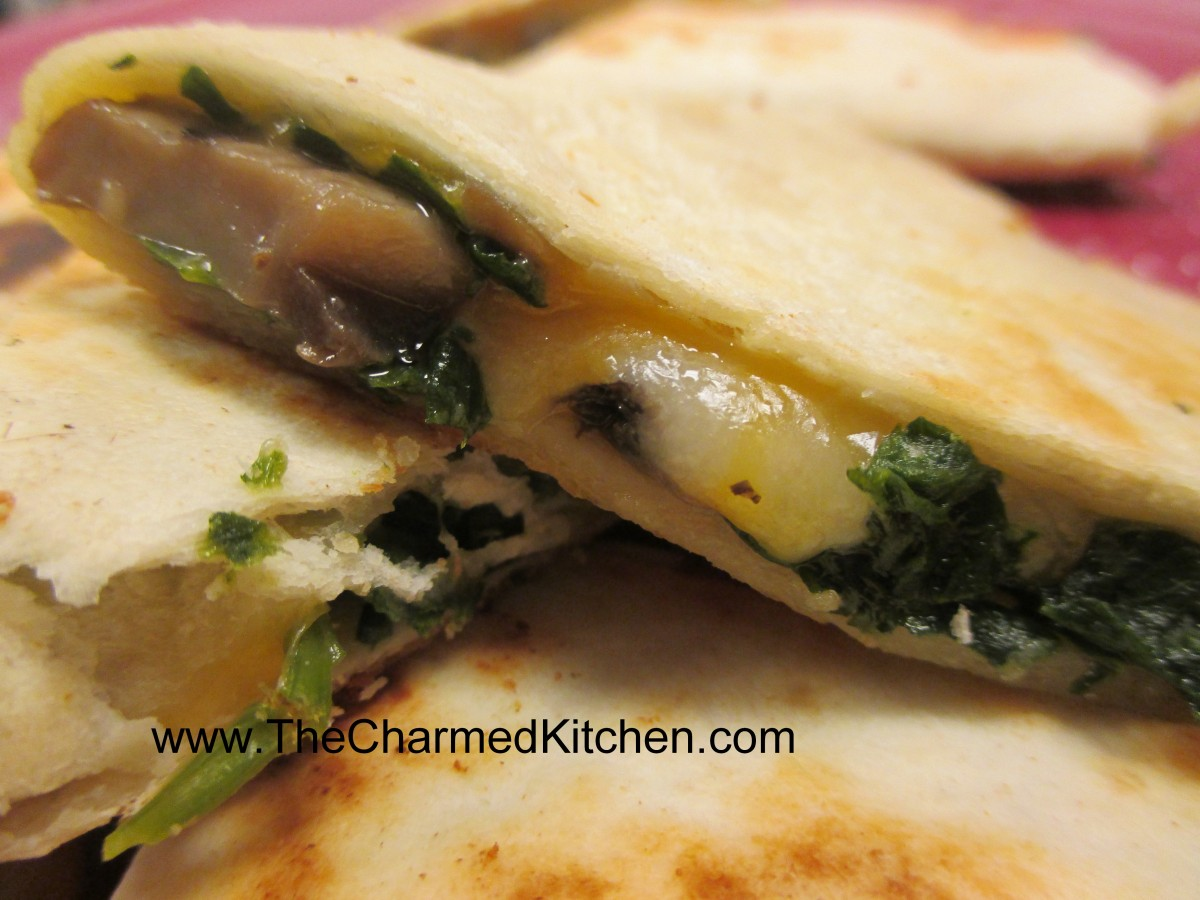 Spinach and Mushrooms Quesadillas | The Charmed Kitchen