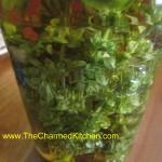 Basil blossoms in vinegar