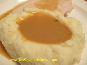 Gravy with mashed potatoes and turkey