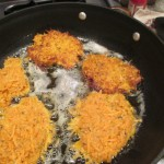 Sweet potato pancakes cooking