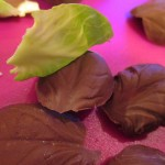 Peel leaves off gently once chocolate has hardened.