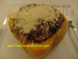 Brown Rice and Lentil Stuffed Peppers