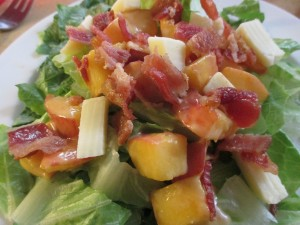 Peachy Chef Salad with Cheese and Bacon
